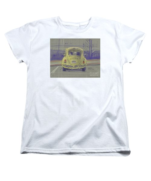 Women's T-Shirt (Standard Cut) featuring the painting Yellow Beetle by Donald Maier