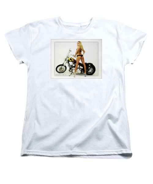 Models And Motorcycles Women's T-Shirt (Standard Cut) by Walter Herrit