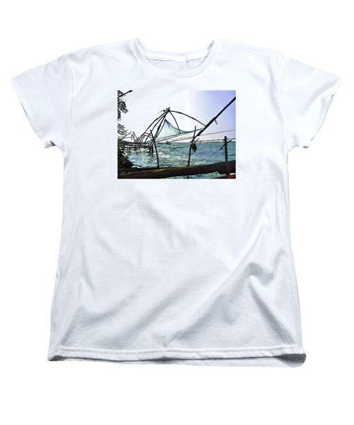 Fishing Nets On The Sea Coast In Alleppey Women's T-Shirt (Standard Cut) by Ashish Agarwal