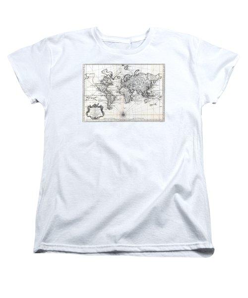 1748 Antique World Map Versuch Von Einer Kurzgefassten Karte  Women's T-Shirt (Standard Cut) by Karon Melillo DeVega