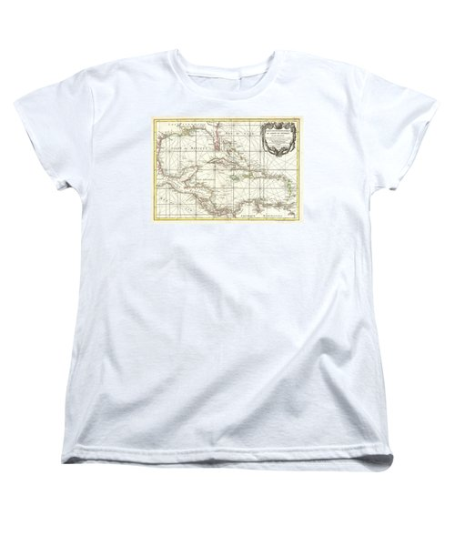 1762 Zannoni Map Of Central America And The West Indies Women's T-Shirt (Standard Cut) by Paul Fearn
