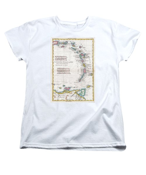 1780 Raynal And Bonne Map Of Antilles Islands Women's T-Shirt (Standard Cut) by Paul Fearn