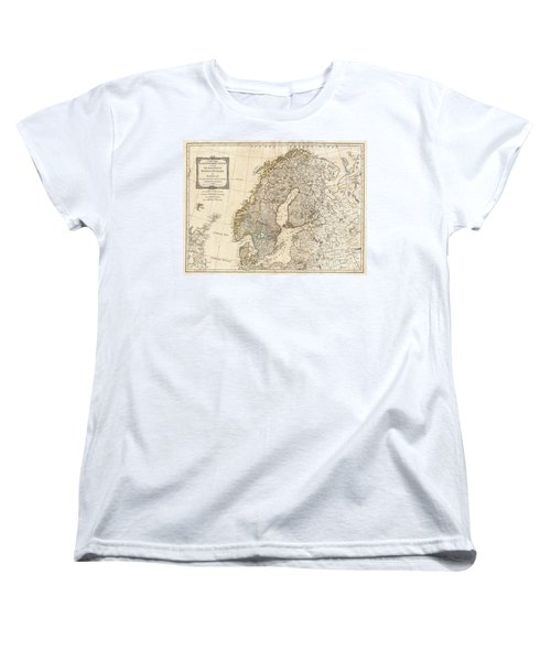 1794 Laurie And Whittle Map Of Norway Sweden Denmark And Finland Women's T-Shirt (Standard Cut) by Paul Fearn