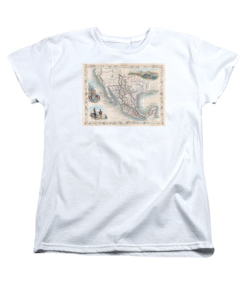 1851 Tallis Map Of Mexico Texas And California  Women's T-Shirt (Standard Cut) by Paul Fearn