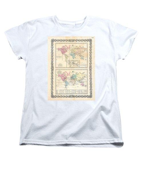 1855 Antique First Plate Ortelius World Map Animal Kingdom World Commerce And Navigation Women's T-Shirt (Standard Cut) by Karon Melillo DeVega