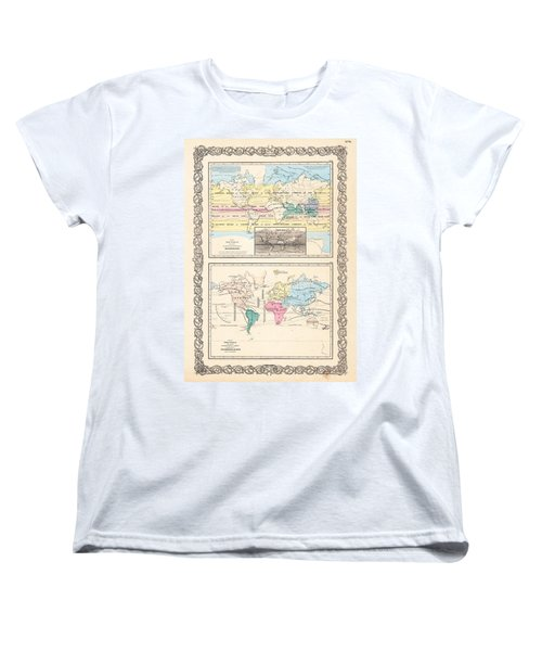 1855 Antique World Maps Illustrating Principal Features Of Meteorology Rain And Principal Plants Women's T-Shirt (Standard Cut) by Karon Melillo DeVega
