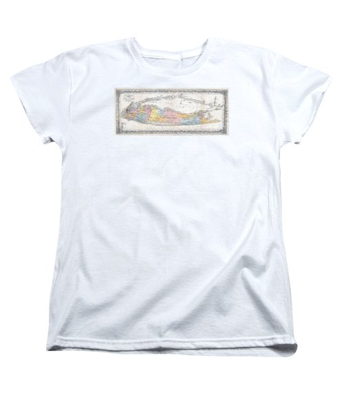 1857 Colton Travellers Map Of Long Island New York Women's T-Shirt (Standard Cut) by Paul Fearn