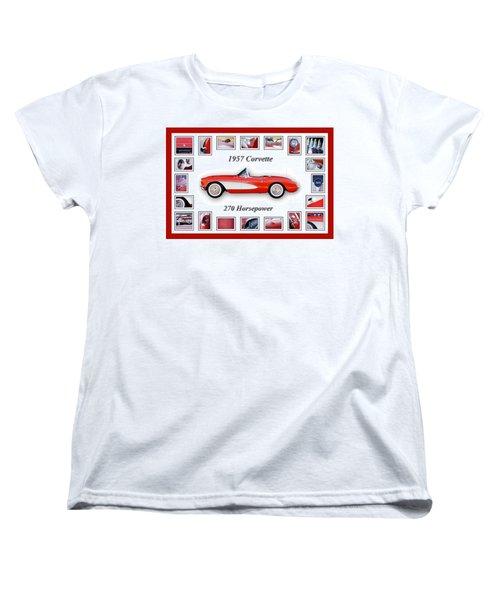 1957 Chevrolet Corvette Art Women's T-Shirt (Standard Cut) by Jill Reger
