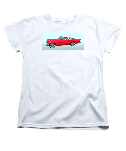 Vintage Car Women's T-Shirt (Standard Cut) featuring the photograph 1957 Ford Thunderbird  by Aaron Berg