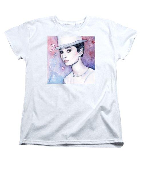Audrey Hepburn Fashion Watercolor Women's T-Shirt (Standard Cut)