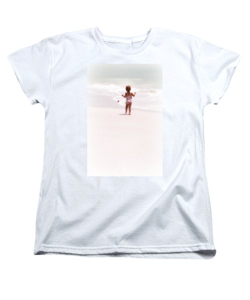 Women's T-Shirt (Standard Cut) featuring the digital art Baby Chases Red Ball by Valerie Reeves
