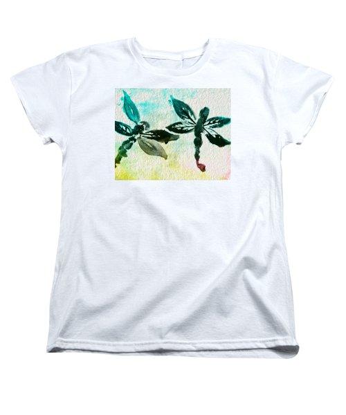 Women's T-Shirt (Standard Cut) featuring the digital art 2 Dragonflies Abstract by Frank Bright