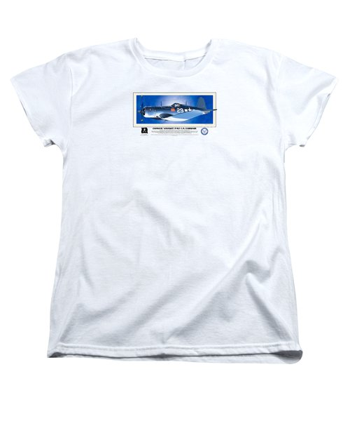 Women's T-Shirt (Standard Cut) featuring the drawing Navy Corsair 29 by Kenneth De Tore