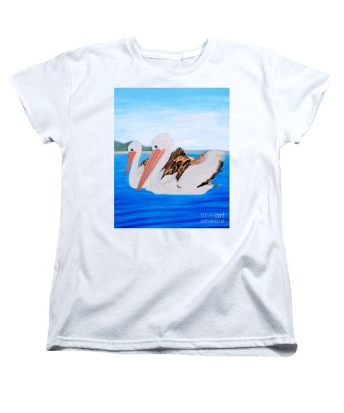 Women's T-Shirt (Standard Cut) featuring the painting Pelicans.   Inspirations Collection. by Oksana Semenchenko
