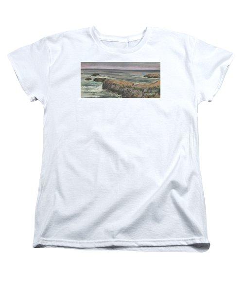 Women's T-Shirt (Standard Cut) featuring the painting Pescadero Beach by Donald Maier