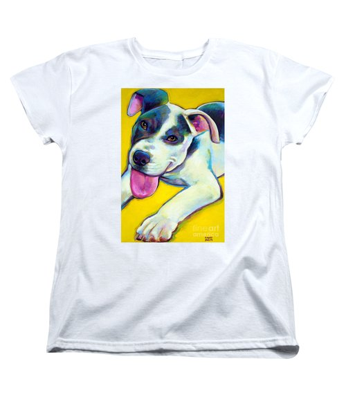 Women's T-Shirt (Standard Cut) featuring the painting Pit Bull Puppy by Robert Phelps