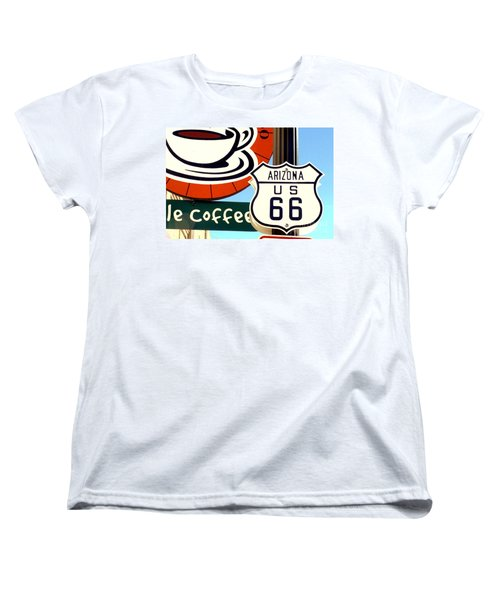 Women's T-Shirt (Standard Cut) featuring the digital art Route 66 Coffee by Valerie Reeves