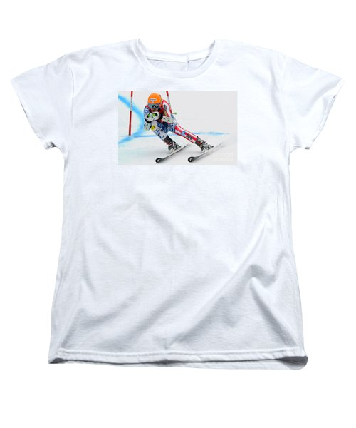 Ted Ligety Skiing  Women's T-Shirt (Standard Cut) by Lanjee Chee