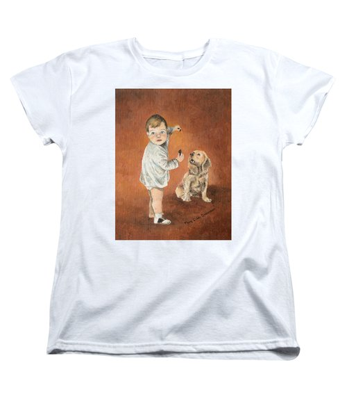 Women's T-Shirt (Standard Cut) featuring the painting The Guilty Ones by Mary Ellen Anderson