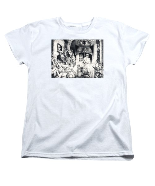 Women's T-Shirt (Standard Cut) featuring the drawing Vindobona Altarpiece IIi - Snakes And Ladders by Otto Rapp