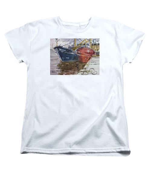 Women's T-Shirt (Standard Cut) featuring the painting Wexford Fishing Boats by Donald Maier