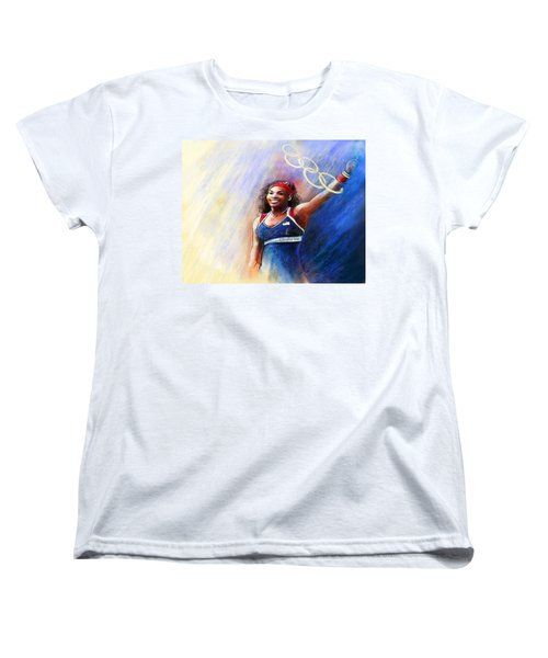 2012 Tennis Olympics Gold Medal Serena Williams Women's T-Shirt (Standard Cut) by Miki De Goodaboom