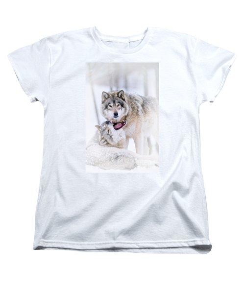 Timber Wolf Pictures Women's T-Shirt (Standard Cut) by Michael Cummings