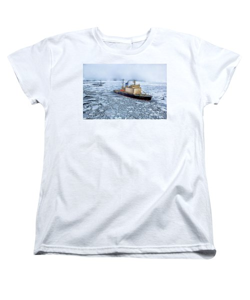 Women's T-Shirt (Standard Cut) featuring the photograph Arctic Sea Ocean Water Antarctica Winter Snow by Paul Fearn