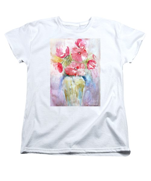 Women's T-Shirt (Standard Cut) featuring the painting Poppies by Jasna Dragun