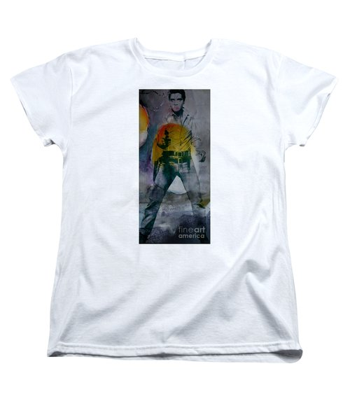 Women's T-Shirt (Standard Cut) featuring the mixed media Elvis by Marvin Blaine