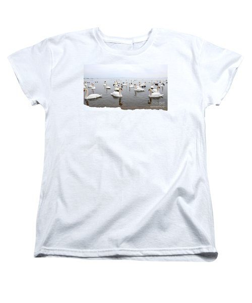 60 Swans A Swimming Women's T-Shirt (Standard Cut) by Laurel Best