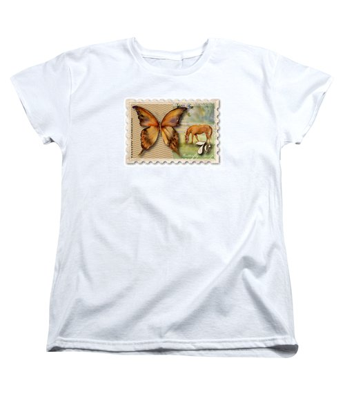 7 Cent Butterfly Stamp Women's T-Shirt (Standard Cut) by Amy Kirkpatrick