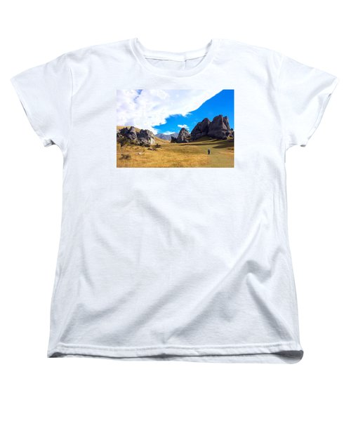 A Castle Hill Walk Women's T-Shirt (Standard Cut) by Stuart Litoff