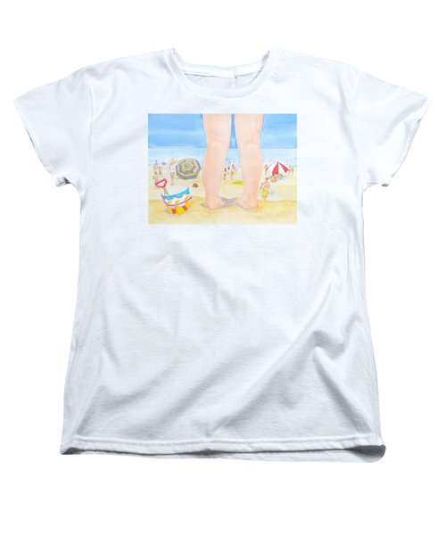 Women's T-Shirt (Standard Cut) featuring the painting A Child Remembers The Beach by Michele Myers