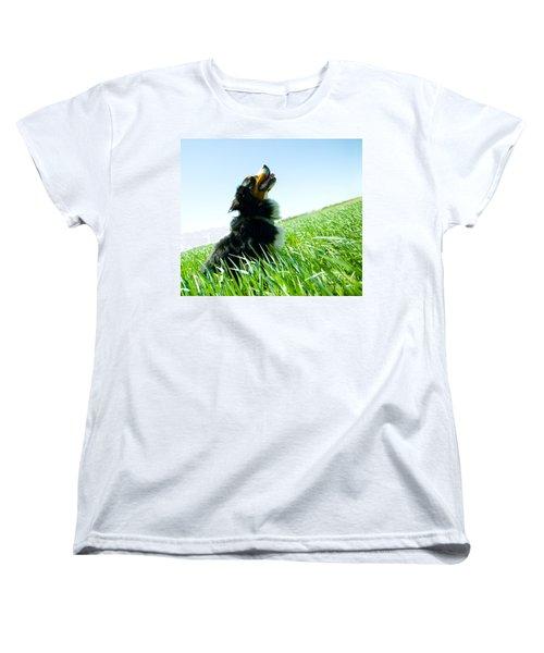 A Cute Dog On The Field Women's T-Shirt (Standard Cut) by Michal Bednarek