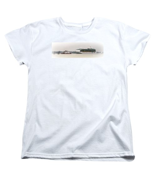 Women's T-Shirt (Standard Cut) featuring the photograph A Ferry A Ship And Some Yachts by Linsey Williams