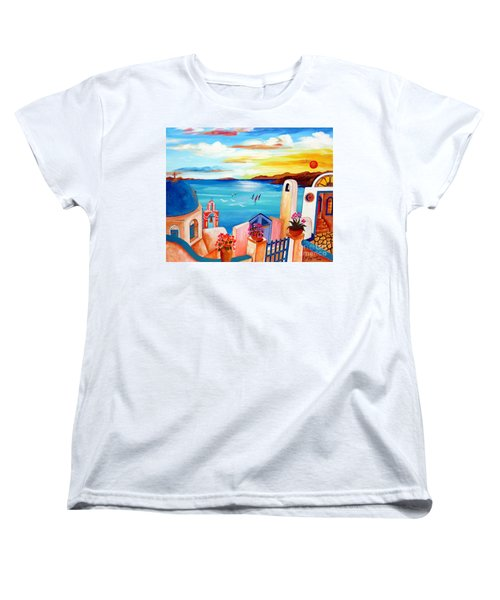 Women's T-Shirt (Standard Cut) featuring the painting A Greek Seaview by Roberto Gagliardi