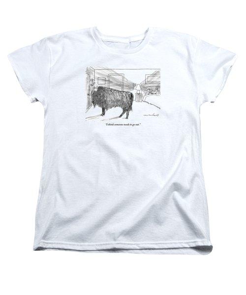 A Large Buffalo Stands Near The Door Women's T-Shirt (Standard Cut) by Michael Crawford