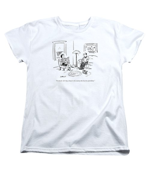 A Man And A Woman Talk In Their Living Room Women's T-Shirt (Standard Cut) by David Sipress