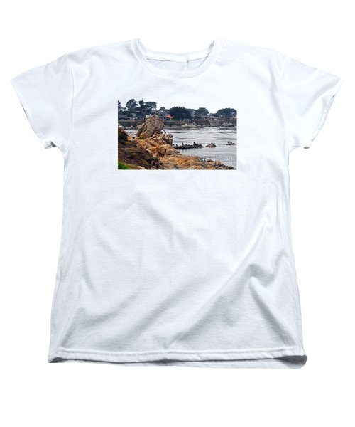 Women's T-Shirt (Standard Cut) featuring the photograph A Misty Day At Pacific Grove by Susan Wiedmann