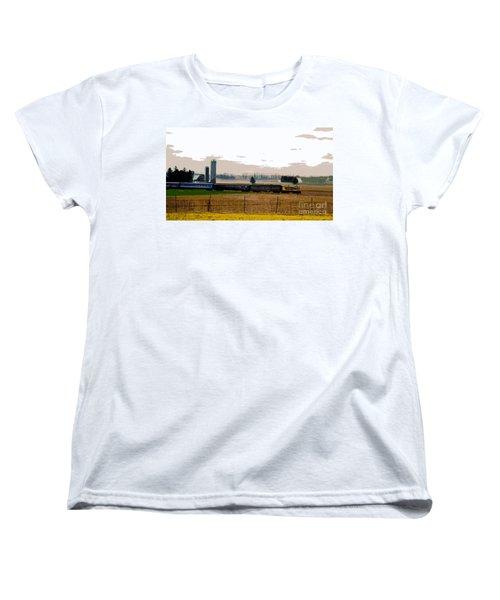 Women's T-Shirt (Standard Cut) featuring the photograph A Train Runs Through It by Nina Silver