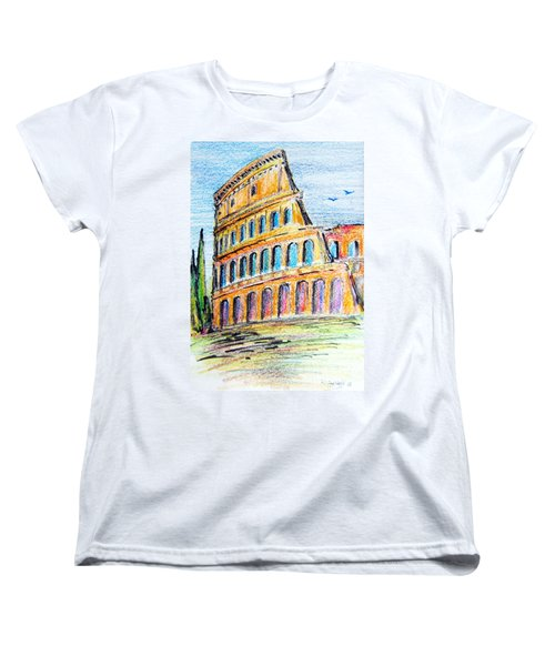 Women's T-Shirt (Standard Cut) featuring the painting A View Of The Colosseo In Rome by Roberto Gagliardi