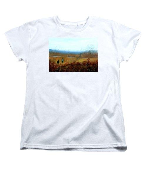 Women's T-Shirt (Standard Cut) featuring the painting A Winter Walk by Gail Kirtz