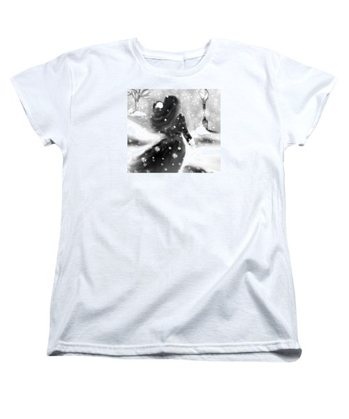 Women's T-Shirt (Standard Cut) featuring the drawing A Winters Walk by Lori  Lovetere