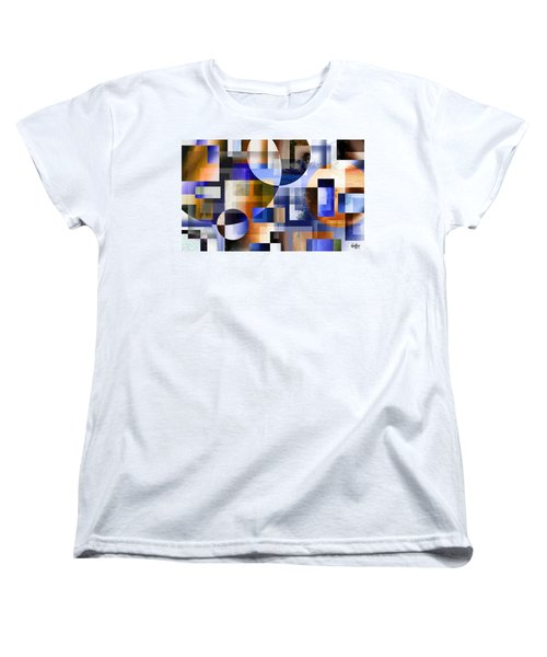 Women's T-Shirt (Standard Cut) featuring the painting Abstract In Blue by Curtiss Shaffer