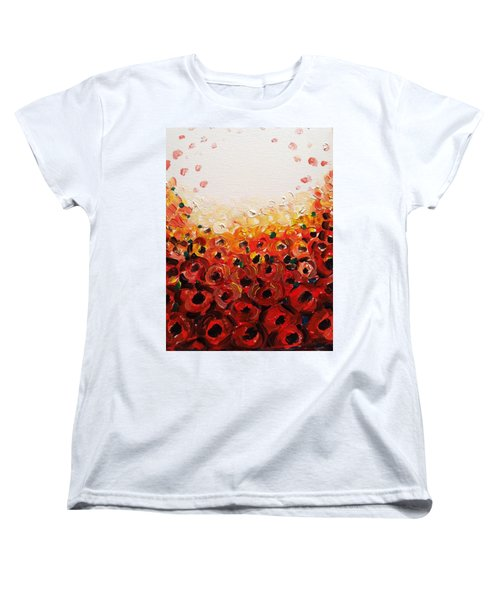 Abstract Poppies 2 Women's T-Shirt (Standard Cut) by Hae Kim