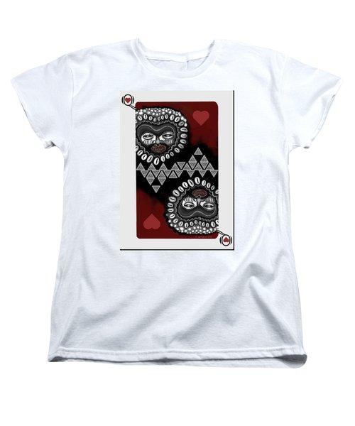 African Queen-of-hearts Card Women's T-Shirt (Standard Cut) by Carol Jacobs
