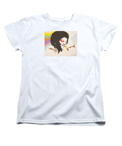 Women's T-Shirt (Standard Cut) featuring the painting Afro Michael Jackson by Stormm Bradshaw