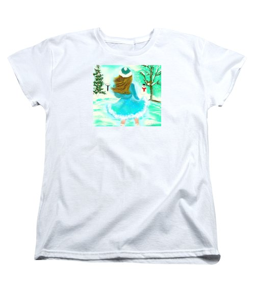 Women's T-Shirt (Standard Cut) featuring the drawing Afternoon Skating by Lori  Lovetere