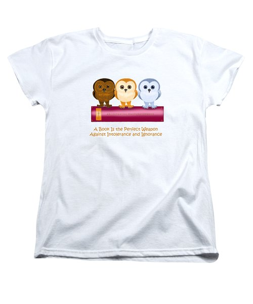 Women's T-Shirt (Standard Cut) featuring the painting Against Ignorance by Leena Pekkalainen